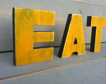 eat sign kitchen sign eat wood letters home decor yellow green blue wood sign
