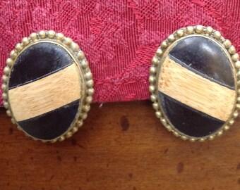 vintage ebony oval clip on earrings