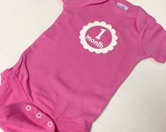 Baby Girl Multi-Color Monthly Onesies