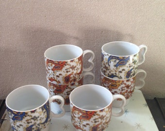 Vintage set of Paisley Stacking Mugs from the Seventies