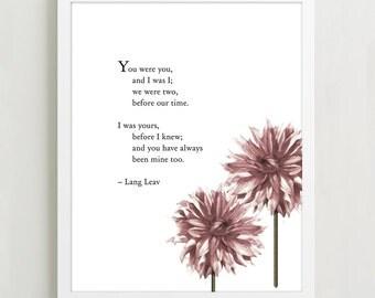"Poetry Art - Lang Leav "" He and I "" - Poetry Art - Love Poetry - Typographic Print"