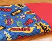Superhero Action Words; 100% Cotton Pillowcase