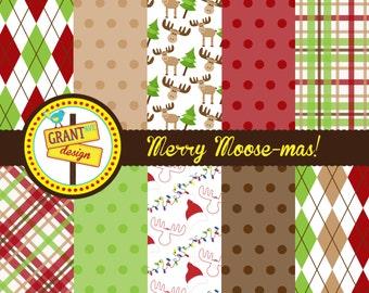 Moose Digital Papers - Christmas Digital Papers - Cute Digital Papers - Backgrounds for Card Design, Scrapbooking, Web Design