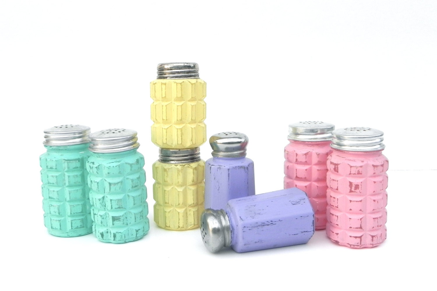 Shabby Chic Painted Salt And Pepper Sets Glass Salt And