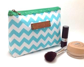 Blue Chevron Clutch. Bridesmaid Clutch. Chevron Make-up Bag. Cosmetic Bag. Small Purse. Small Chevron Bag. Zipper purse. Christmas Gift.