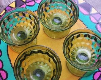 4 vintage green glass sherbert dessert glasses