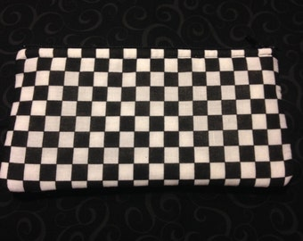 White and Black Checker Board Pencil Case, Coin Purse, Wristlet, Cosmetic Bag #68