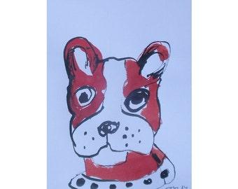 Franz. Bulli - Zeichnung- Original  free shiping Tusche Gouache Tier Aquarell 21x14 rot frei