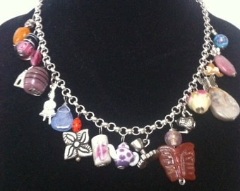 "Necklace ""Tea Time"" charm necklace, crystals, Stones, Tea charms, lampwork beads, tea parties, Alice in Wonderland"