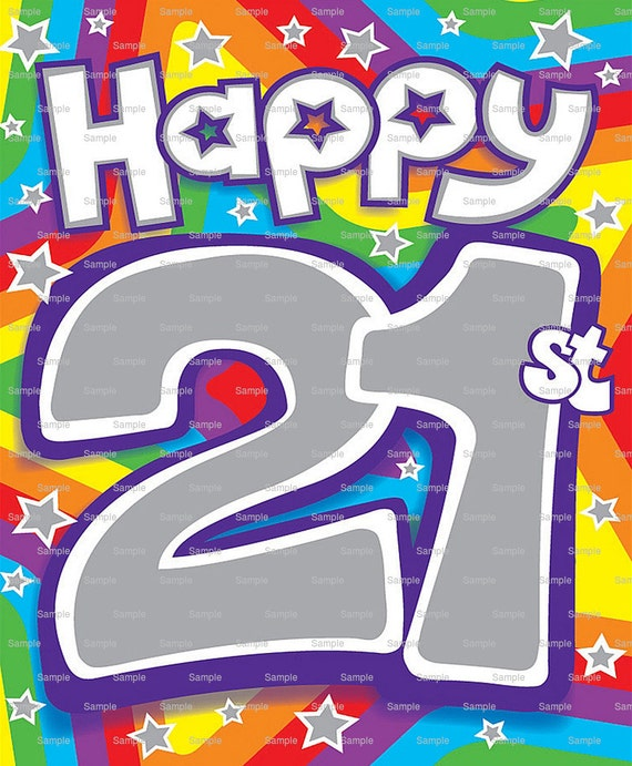Happy 21st Birthday Edible Cake and Cupcake Topper For