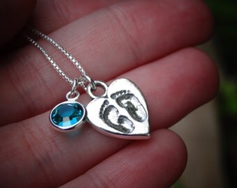 Mommy Necklace Baby Feet Necklace Sterling Silver Baby Necklace