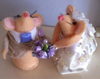 Bespoke Wedding mice. Customised luxury option bride and groom mice. A wonderful keepsake gift or cake topper.