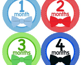 Monthly Onesie Stickers Boys- 1-12 Months Little Man Bow Tie Printed Stickers
