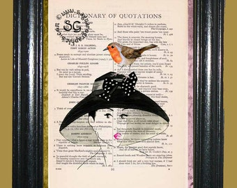 1945 Lady with Black Hat and a Robin sitting on the Hat - Vintage Dictionary Page Book Art Print Unique Upcycled Page Art Mixed Media Art