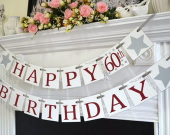 Happy Birthday banner, wine red Birthday garland, 50th Birthday Banner, 60th Birthday, 70, 80, 40 Birthday banner, Birthday decor,
