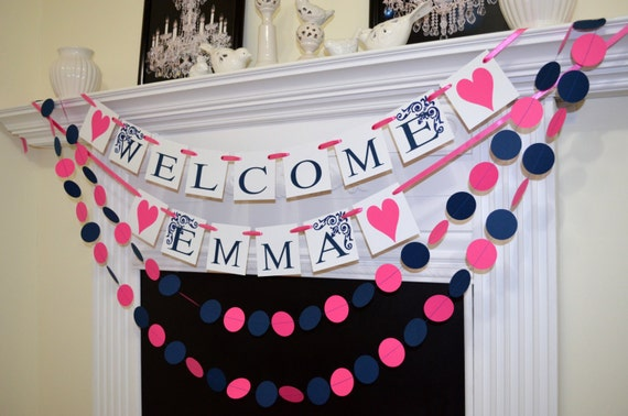 Welcome baby banner baby shower banner garland baby shower for Baby welcome home decoration