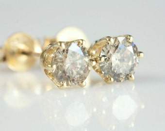 Diamond Gold Earrings, 14K Yellow Gold Earrings, 0.70 Carat , Bridal Jewelry, Women Jewelry