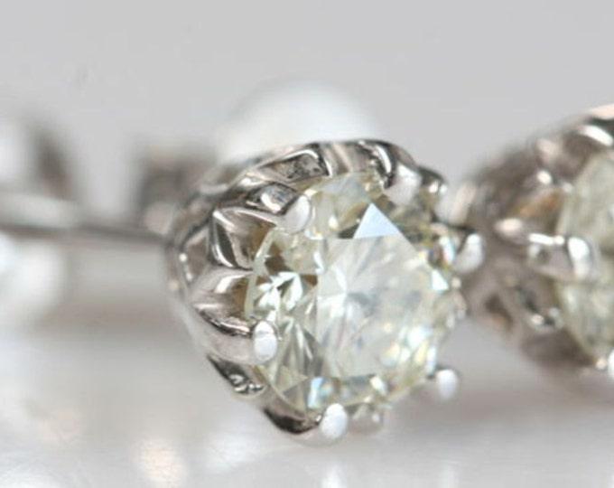 1 ct Diamond Earrings-14K White Gold Earrings-Diamond Stud Earrings-for her-Wedding earrings-Anniversary present-For him-Birthday present