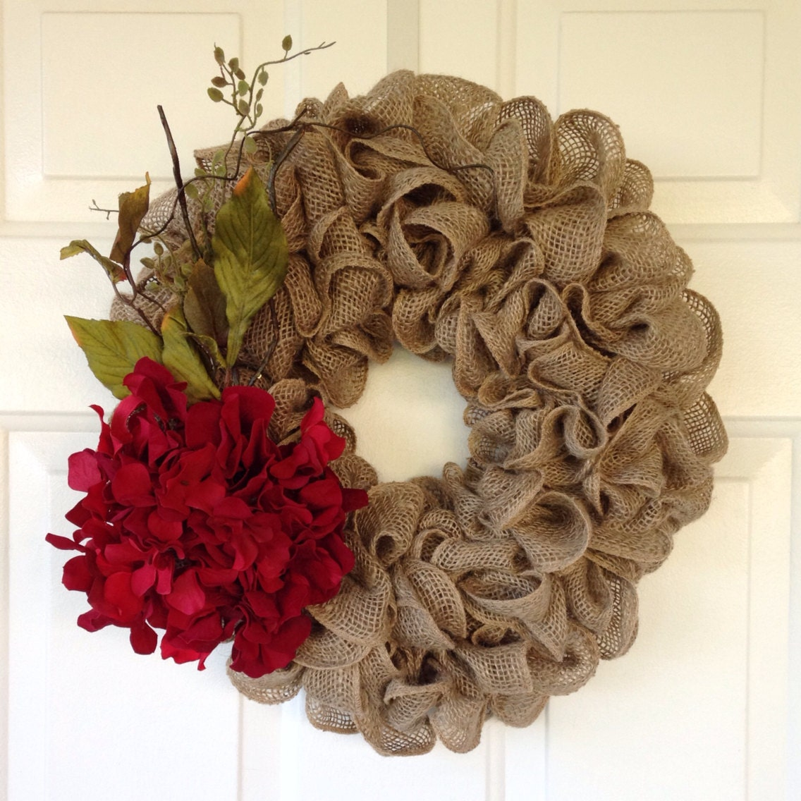 Rustic Valentine's Tan Burlap Wreath By SimpleCountryBurlap