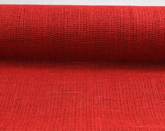 "Red 19.7"" by 10 yard burlap roll for long banquet tables. perfect for wedding events, burlap aisle runner.Other colors available(BRH19-11)"