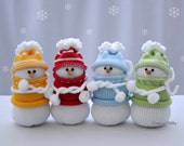 Knitted snowmen Set of 4 - Christmas gift - Home decor