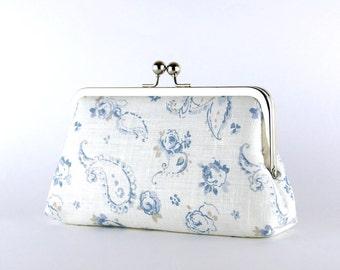Bridesmaid Clutch, English Garden in Denim Blue Clutch, Silk Lining, Bridesmaid Gift, Wedding clutch, Denim collection