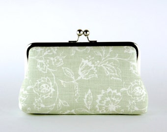 Bridesmaid Clutch, Wildflowers in Sage Green Clutch, Silk Lining, Bridesmaid Gift, Sage Green & Pink collection