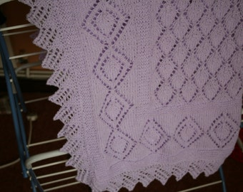 Hand knitted Baby Blanket / Shawl in lavender baby yarn - acrylic with lustre