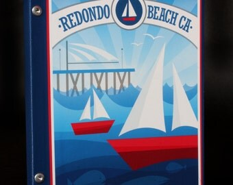 Custom Redondo Beach Hardcover Journal 8x10 with rule paper.