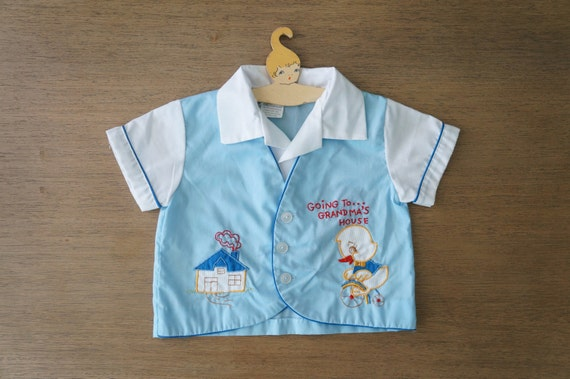 Vintage Baby Clothes Boy Blue Fake Piecegoing
