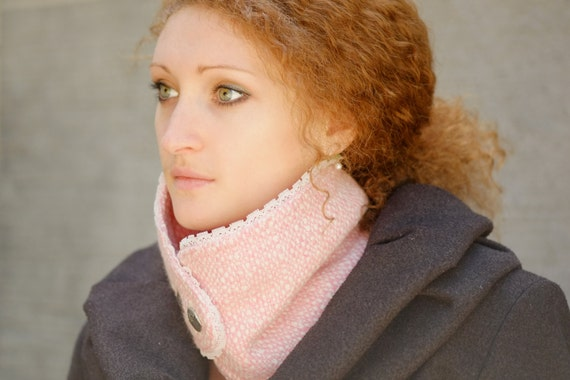 Fashion Cowl Neck Warmer / Light Pink And White Wool Fabric Cowl /  Lace Unique Fall Winter Accessory Two Metal Buttons