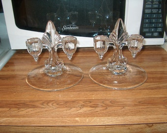 Vintage Glass Candleholders, WAS 25.00 - 50% = 12.50