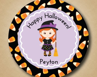 Kids Personalized Halloween Stickers Customized Treat Bag Labels for Halloween Party Witch and Candy Corn Design