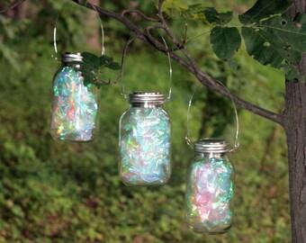 Set of 3 LARGE Hanging SILVER Fairy Light Mason Jar Solar Powered Lantern Rainbow Solar Lamp Light #1 Design Garden Lantern Pathway Marker