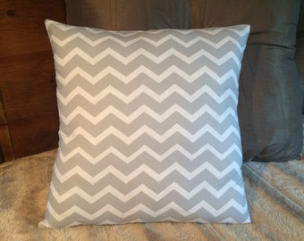 Custom made gray and white chevron pillow cover/sham. Multiple sizes to choose from.