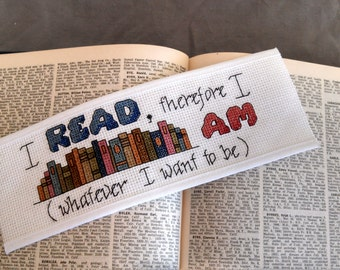 Pattern - Cross Stitch Bookmark - I Read, Therefore I Am (download pdf)