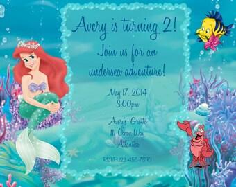 """Printable Ariel """"The Little Mermaid"""" Birthday Invitation"""