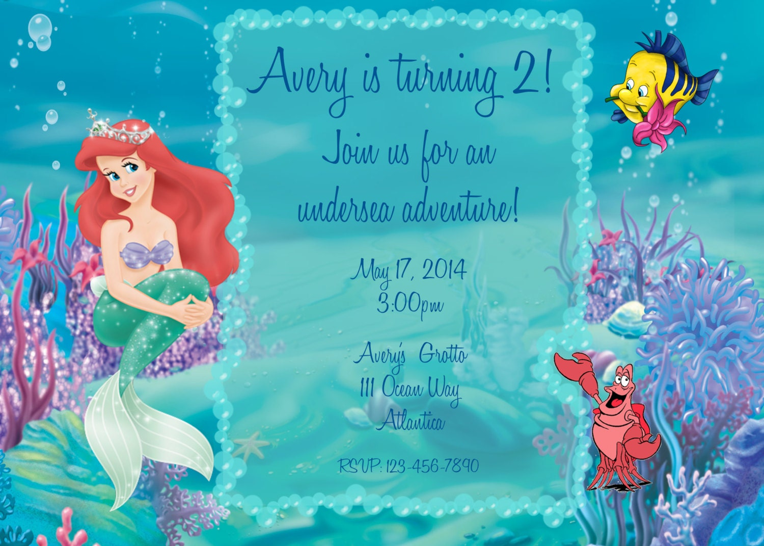 Little Mermaid Party Invitation Wording for amazing invitations layout