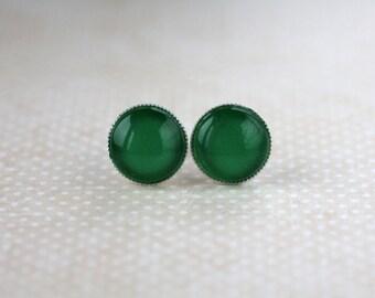 Green Post Earrings - Green Post Earrings - Grass Green Small Post Earrings - Green Simple Studs - summer earrings