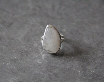 Rainbow Moonstone Ring Bezel Set in 925 Sterling Silver