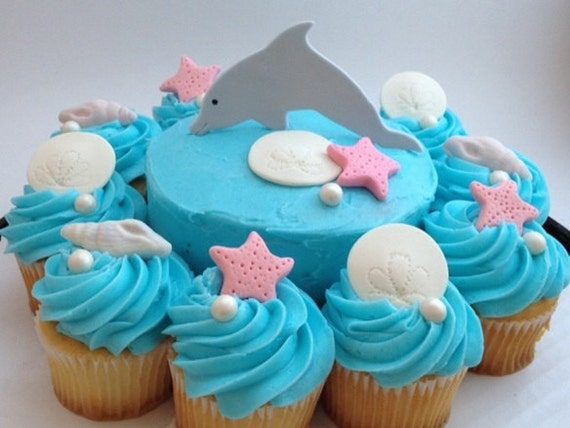 Dolphin Themed Cake andor Cupcake Toppers Fondant by So Sweet