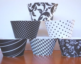 48 pcs Wedding Formal Black and White Cupcake Wrappers Holders Birthday Anniversary Party Toppers