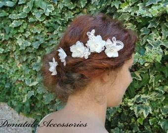 Rustic Wedding Hair Flower  Small Hair Flowers  Bridal Headpiece Bridal  Hair Flower   Wedding headpiece -GABRIELLE