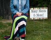 Navy, Lime, Peach, Raspberry, and Turquoise Stripe Women's Maxi Skirt