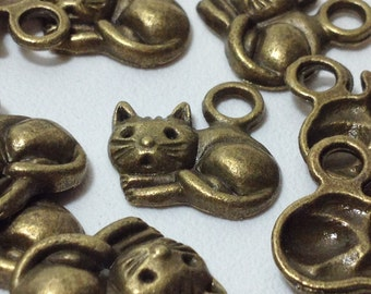 10 Antique Bronze Tone Cat - Kitty Charm Pendants