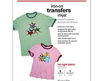 "Lot of 5 - Office Depot Brand Light Fabric Inkjet Iron-On Transfers, 8 1/2"" x 11"", Pack Of 6"