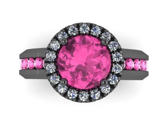 Diamond Halo Pink Sapphire Engagement Ring Gemstone Engagement