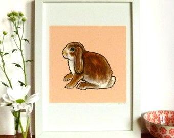 Dwarf Lop Rabbit, Print of original Watercolour A4/ 8.3 x 11.7, Contemporary Pet Portrait, Wall Art, Nursery art, Bunny Print, Pink