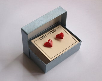 Origami heart earrings in a box
