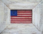 American Folk Art Flag in Olde Clapboard Frame---Primitive Folk Art Hand-Painted on Fabric